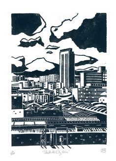 "Museums Sheffield — ""Sheffield City View"" Linocut Print by James Green Sheffield Art, Sheffield Steel, Sheffield United, Linocut Prints, Poster Prints, Linoprint, A Level Art, Architecture Art, Illustrations Posters"