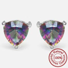 4.5ct Genuine Nature Rainbow Fire Red Multicolor Mystic Topaz Earrings Stud Only $29.99 => Save up to 60% and Free Shipping => Order Now! #Bracelets #Mystic Topaz #Earrings #Clip Earrings #Emerald #Necklaces #Rings #Stud Earrings