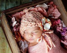 Newborn Bonnet - Simple Elegance Line - NECTAR - hand knit baby bonnet - photo prop - knitbysarah - Stitches by Sarah. $28.00, via Etsy.