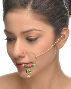 Golden Nose ring with Green Stone Drop #Jewelry #Fashion #New #Stones #Studded #Ethnic #Indian #Traditional