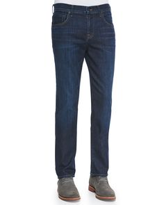 Straight-Leg Luxe Denim Jeans, Size: 34, North Pacific - 7 For All Mankind