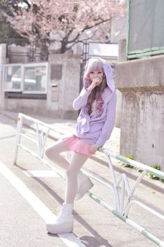 purple sweater and pink skirt, japanese fashion street.