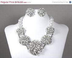 Pearl Crystal Bridal Statement Necklace Earrings, Wedding Jewelry Set, Bridal Rhinestone Statement Necklace, Chunk Necklace Earrings