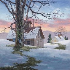 """""""Evening Sugarhouse"""" By Vermont artist Fred Swan. Giclee framed by Village Frame Shoppe Gallery in St. Swan Painting, Painting Snow, Winter Painting, Winter Art, Watercolor Landscape, Landscape Art, Landscape Paintings, Watercolor Paintings, Watercolors"""