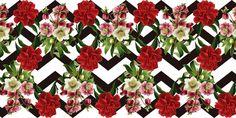 Estampas com temática florais vermelhos.