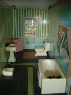 Vintage Renwal Doll House Furniture 5 PC Bathroom Set | eBay