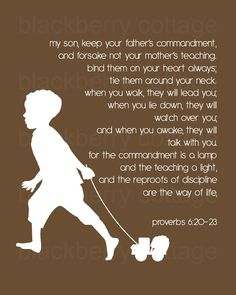 Proverbs 6:20-23. Well now this would be nice to print out and hang up in the kids' rooms...wonder if it would help with obedience???