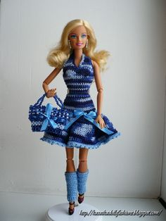 KasatkaDollsFashions: Вязанный джинсовый сарафан для куклы Барби