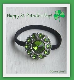 """SNAPPY St. Patrick's Day  """"Theresa"""" green bling button snap. Snap it on and off any of our interchangeable base snap accessories.   www.facebook.com/DaintyLions11  www.daintylions.com  #St Patricks Day #tweens #teens #accessories #interchangeable accessories #unique accessories #green #lucky #irish #green irish"""