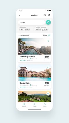 Dead End : Roome Hotel Booking App UI Kit UI Kits Ideas of UI Kits UIKits Roome Hotel Booking App UI Kit is a pack of 28 delicate UI design screen templates that will help you to design clear interfaces for hotel booking app faster and easier. App Ui Design, Application Ui Design, Ui Design Mobile, Web Design Tips, Flat Web Design, Best App Design, Interface Design, Hotel Booking App, Hotel App