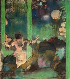 At the Cafe des Ambassadeurs - Edgar Degas Completion Date: 1885 Style: Impressionism Genre: genre painting Technique: pastel Gallery: Private Collection Edgar Degas, Manet, Renoir, Oil Painting For Sale, Painting & Drawing, Illustrations, Illustration Art, Degas Paintings, Art Ancien
