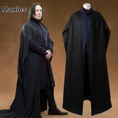 >> Click to Buy << Professor Severus Snape Cosplay Costume Cloak Black Robe Adult Men Hogwarts School Deathly Hallows Halloween Clothes Custom Made #Affiliate