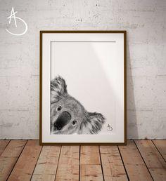 Tattoo Koala, Black And White Printer, Photo Store, Nursery Letters, Australian Animals, Typography Art, Minimalist Art, Printable Wall Art, Cute Animals