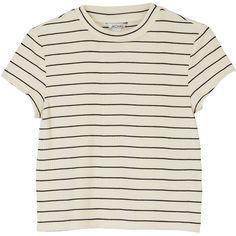 Monki Tee sleeve top (8.22 CAD) ❤ liked on Polyvore featuring tops, t-shirts, shirts, tees, sleek stripes, striped t shirt, tee-shirt, t shirt, stripe shirt and stripe tee