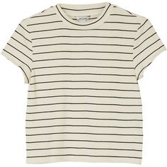 Monki Tee sleeve top (€12) ❤ liked on Polyvore featuring tops, t-shirts, shirts, tees, sleek stripes, striped t shirt, striped sleeve t shirt, sleeve t shirt, round t shirt and striped tee