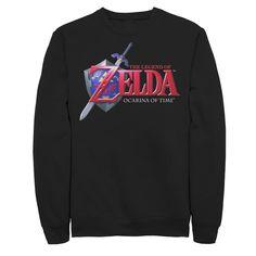 Men's Legend of Zelda Logo Sweatshirt, Size: Small, Black
