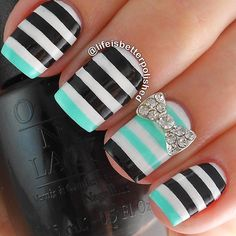 Tiffany Blue and Black Stripe Nails With Rhinestone Bow