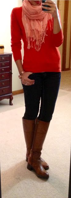Riding Boots and jeans | ... jeans, Etienne Aigner Chip riding boots via Macy's, F21 scarf, NY&Co