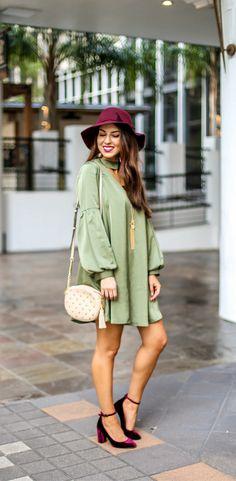 Gorgeous Olive Choker Dress. Olive Dress for Fall. Fall Dress. Cute Fall Dress. Dress with Choker Neck. Burgundy Velvet Pumps. Velvet Shoes.