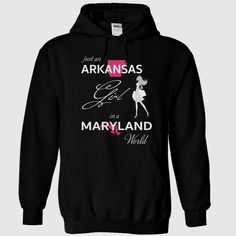 ARKANSAS GIRL IN MARYLAND WORLD, Order HERE ==> https://www.sunfrog.com/LifeStyle/ARKANSAS_MARYLAND-Black-75955866-Hoodie.html?89701, Please tag & share with your friends who would love it , #christmasgifts #renegadelife #superbowl