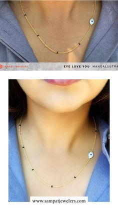 Evil eye diamond mangalsutra in 18K gold and natural diamonds. Designed for a modern lifestyle and perfect mangalsutra to wear to work and sialy wear. Sturdy 18K gold chain that is designed to last for ages. Click link to learn more