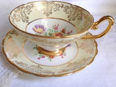 Woodlands Teacup and Saucer / Vintage Cup and by AprilsLuxuries