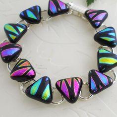 Triangle Bracelet Dichroic Fused Glass - Dichroic Glass Bracelet - Candy corn?