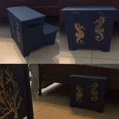 Stool with seahorse stencil