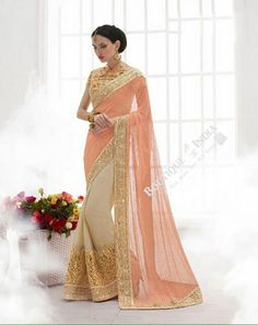 Sarees - Peach/ Pink And Golden Bridal Collections - Resplendent Bridal Designer Wedding Special Collections / Wedding / Party / Special Occasions / Festival