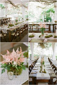 #GardenWedding #cjsoffthesquare #rusticwedding Farm Tables, Lace Runners | Photo: Brandon Chesbro