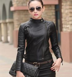 Arrow women black leather jacket slim fit – 7676tf – Arrow Shopping