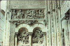 Reliefs on the left wall of porch (top picture), Priory Church of Saint-Pierre, Moissac. France, c. 1115.