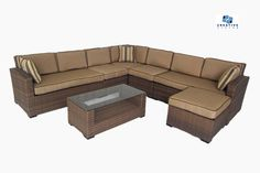 Creative Living Ferrara 7 Piece All Weather Outdoor Wicker Sofa Sectional Set - Includes Free shipping!