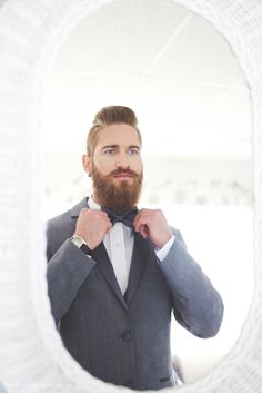 Beauty and the Beard, Groom, Grey Suit, Bow-tie