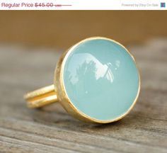 BOXING DAY SALE Blue Chalcedony Ring - Round - Adjustable Ring, Aqua Blue, Minty. $36.00, via Etsy.