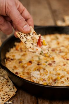 Hot and cheesy dip full of crab chunks and roasted corn. #nye #holiday #appetizers