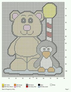 BEAR & PENGUIN by KATHY -- WALL HANGING