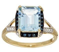 Aquamarine Emerald Cut & 1/5cttw Diamond Ring, 14K Gold 2.30 ct