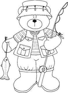 coloring bear fishing seniors drawing riscos colouring crafts colorir atividades printable dibujos line osos picasa desenhos pescador dia patchcolagem imprimir