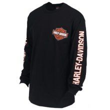 Mens Black Long-Sleeve Skull Graphic Thermal Shirt HARLEY-DAVIDSON Military G Skull Overseas Tour