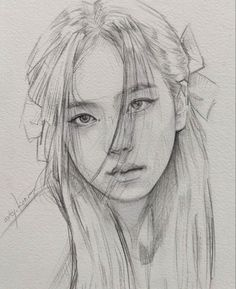 Pink Drawing, Girl Face Drawing, Girl Drawing Sketches, Portrait Sketches, Art Drawings Sketches Simple, Pencil Art Drawings, Realistic Drawings, Art Drawings Beautiful, Amazing Drawings