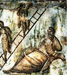 """Catacombe di via Latina, Roma, gli affreschi del IV secolo. Una vera e propria """"pinacoteca del IV secolo""""."""