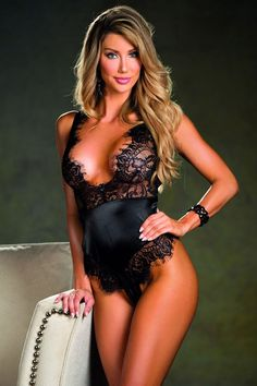Romantic Eyelash Lace Trim Teddy with Deep V Neck and Thong Back.