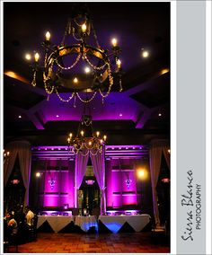 Purple uplighting in the Villa Siena ballroom | Sierra Blanco Photography | villasiena.cc