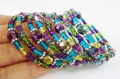 Peacock Beaded Memory Wire Bracelet by PreciousPBoutique on Etsy, $14.00