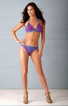 74fd07fa83 NEW Hale Bob Halter Bikini Top   Bottom Blue   Pink BeadedXS 1ORE9090  1ORE9091