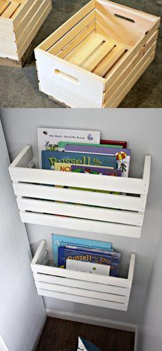 Estantería DIY con caja - iheartorganizing.com - DIY Crate Book Storage