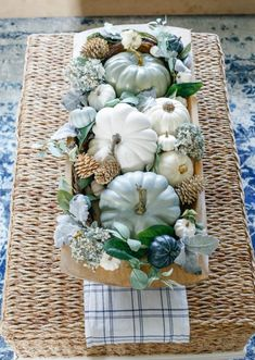 Navy and Neutral Fall Living Room Kitchen Tour. Dough bowls and pumpkins. Celebrate fall with a neutral color palette with natural elements. This Navy and Neutral Fall Living Room Kitchen Tour will make you rethink fall decor. Fall Home Decor, Autumn Home, Blue Fall Decor, Thanksgiving Decorations, Seasonal Decor, Thanksgiving Table, Harvest Decorations, Christmas Tables, Holiday Tables