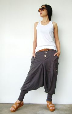 NO.95    Charcoal Cotton Jersey Casual Harem Pants, Unique Pockets Drop-Crotch Trousers