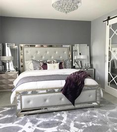 A room should never allow the eye to settle in one place. It should smile at you and create fantasy home decor decoration salon decoration interieur maison Glam Bedroom, Bedroom Sets, Home Decor Bedroom, Purple Master Bedroom, Silver Bedroom Decor, Purple Bedroom Design, Cute Room Decor, Decor Diy, Decor Ideas